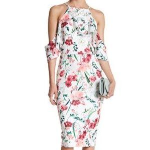 New Alexia Admor Floral Cold-Shoulder Midi Dress